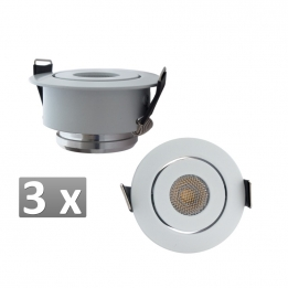 3 x 3W SET inbouwspots rond wit warm (optioneel dimbaar)